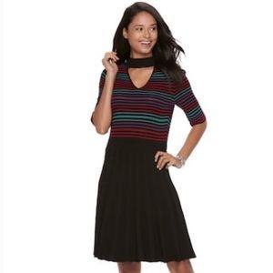 Candie's Choker Neck Striped Knit Sweater Dress